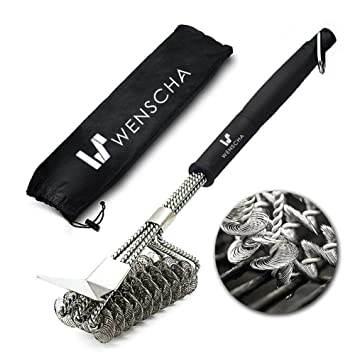 Cepillo para barbacoa Wenscha con raspador de acero inoxidable, cepillo profesional 3 en 1,