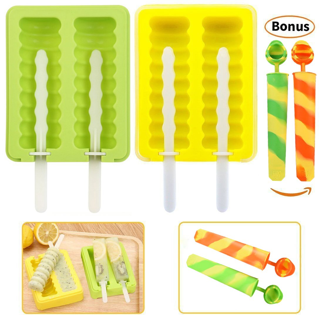 NDHT Ice Lolly Moulds, Silicone Pop Mold Ice Cream Moulds with Lids, Bonus(The bonus' color in random) 2 Ice Pop Moulds,Set of 2