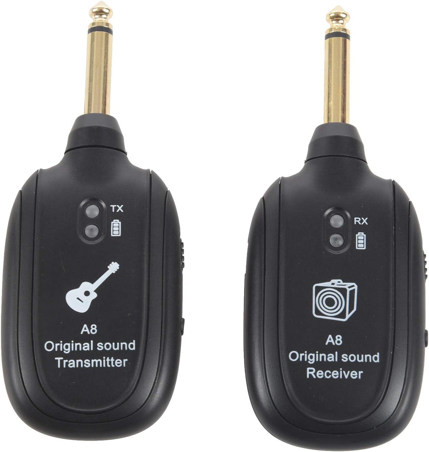 TOOGOO UHF Guitar Inalambrico Sistema Transmisor Receptor Incorporado Recargable