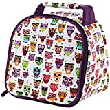 Fit & Fresh Kids' Gabby Insulated Lunch Bag with Exterior Pocket and Full Zip Closure, Versatile School Lunch Box for Girls, Hoot Owl