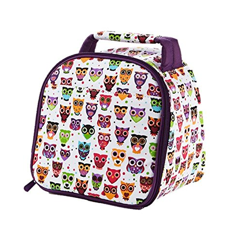 Fit & Fresh Kids Gabby Insulated Lunch Bag with Exterior Pocket and Full Zip Closure, Versatile School Lunch Box for Girls, Hoot Owl