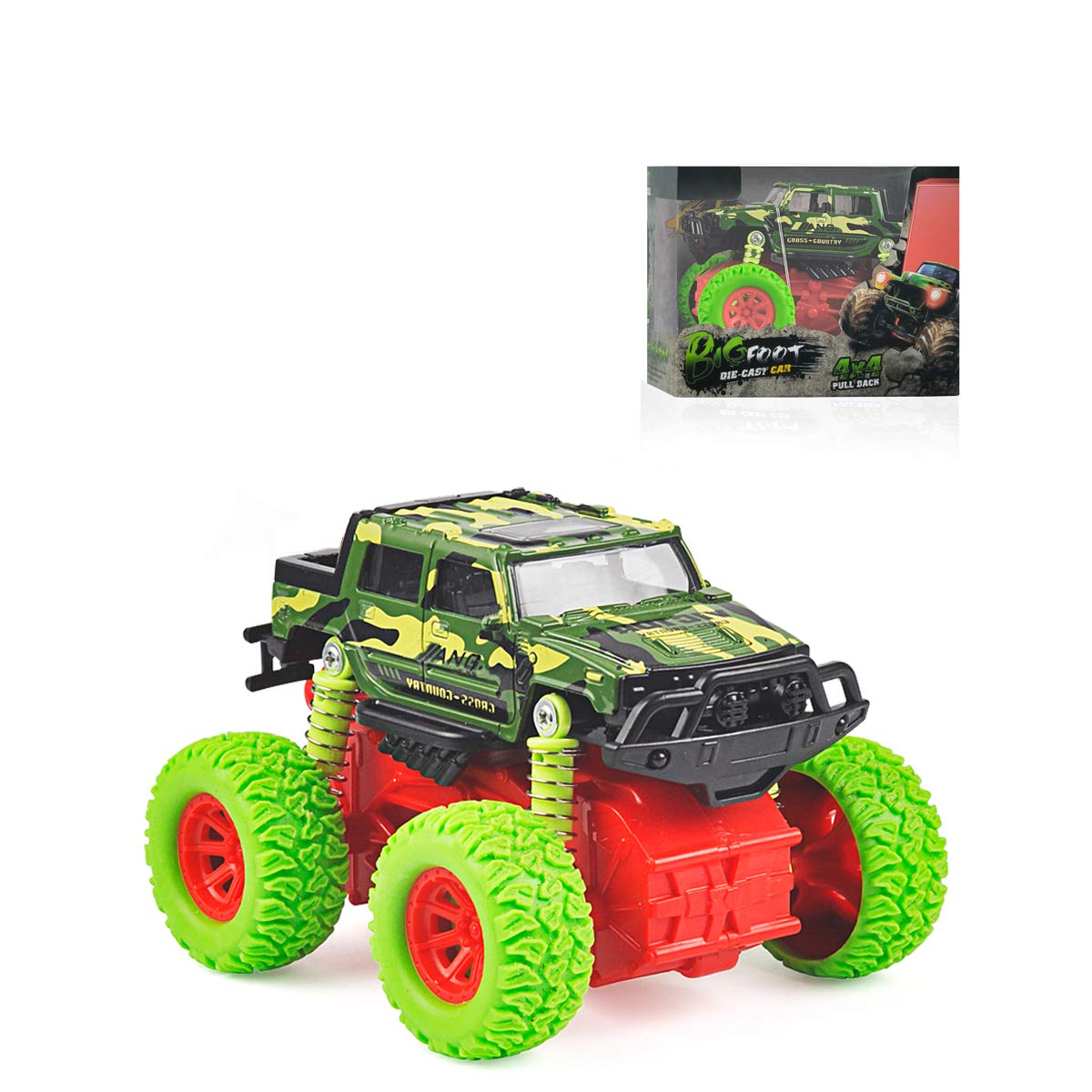 Baby Car Toy Off-Road Inertial Vehicle Four-Wheel Drive Push and Go Simulation Alloy Military Car Toys for 3 Year Old Boy Kids Children Toddler Play Games Best Gift Green ZhaoLeTai Plastic Toy Factory