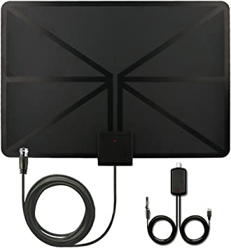 【Oferta 09-13 Dec】QcoQce Antena para TV Digital de TDT y HD par interior HDTV 50 Millas de Distancia alta definición y la versión mejorada del ...