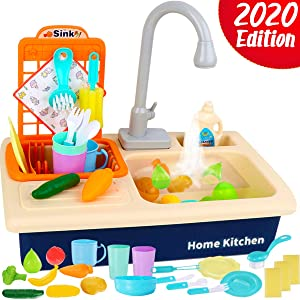 Cheffun Pretend Play Kitchen Sink Toy - Running Water Dishes Washing Toys for Kids Playhouse Accessories Indoor Outdoor Playsetfor Boys Girls Toddler Age 3 4 5 6 7 8 Years Old, Random Blue or Pink
