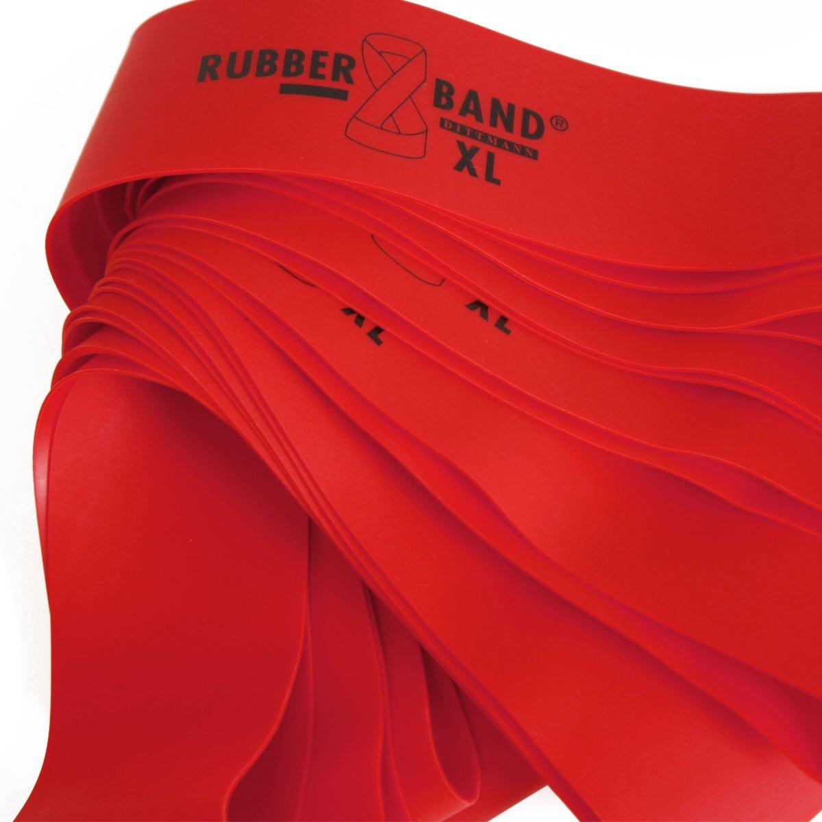 stark inkl /Übungsflyer 3 f/ür Muskelaufbau Krafttraining und Fitness Expander f/ür Gummiband Sport FTM Dittmann/® Rubberband XL in Rot