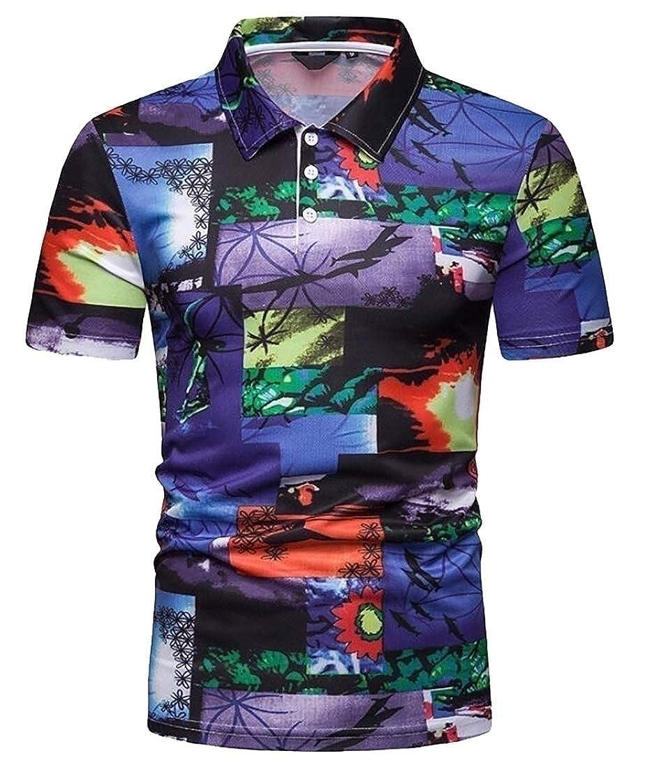 Tymhgt Mens Stylish T-Shirt Beach Printing Short Sleeve Slim Fit Polo Shirt