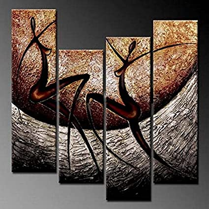 Wieco Art African Dancers Abstract Oil Paintings On Canvas Modern Canvas  Wall Art Contemporary Artwork For