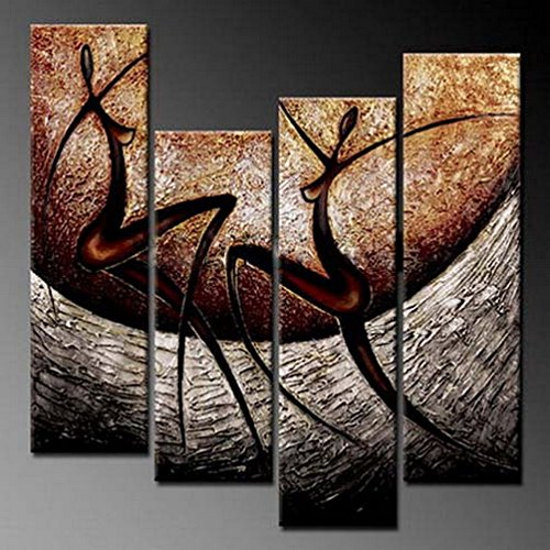 Brown Art Decor (Wieco Art African Dancers Abstract Oil Paintings on Canvas Modern Canvas Wall Art Contemporary Artwork for Wall Decorations Home Decor)