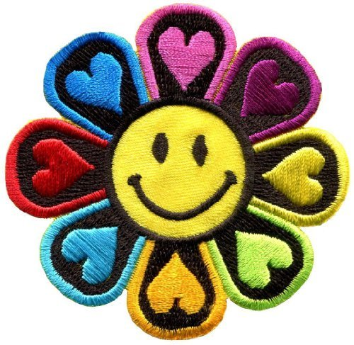 (Flower Power Smiley Face Boho Hippie Retro Love Applique Iron-on Patch New S-694 Handmade Fast Shipping)