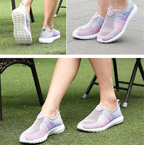 De 40 35 Tamaño Suelas Mayor Abuela Mujer A Blandas Antideslizante Gray Zapatos Malla Mocasines Ponerse BOwdxBR