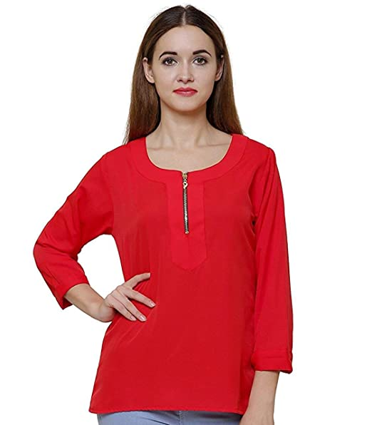 5cc1ba97595 indietoga Women Red Zipper Casual top (Size M to 7XL)  Amazon.in  Clothing    Accessories