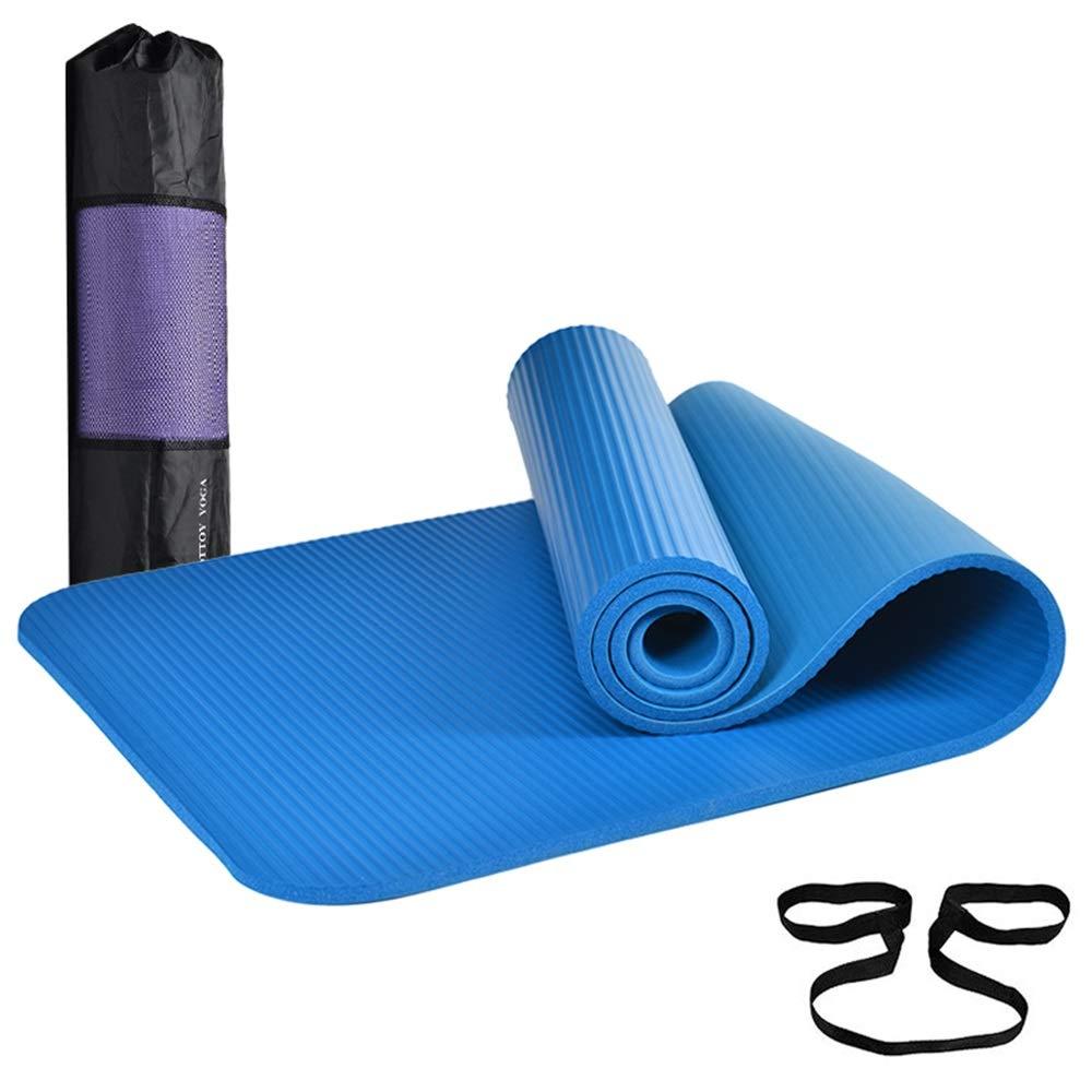 ヨガマット厚さ10mmフィットネスマット初心者無味滑り止めスポーツマット毛布183×61×1cm(色:青)   B07HCWTV34