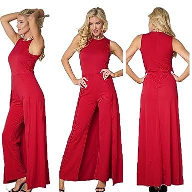 46fc4f4147f Bodycon4U Women's Elegant Wide Leg Romper Dress Sleeveless Party Cocktail  Club Cape Jumpsuit Red M