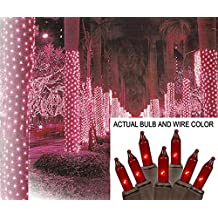 Sienna 2' x 8' Red Mini Christmas Net Style Tree Trunk Wrap Lights - Brown Wire
