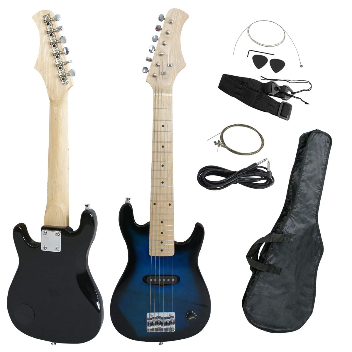 Smartxchoices 30'' Mini Kids Blue Electric Guitar Bundle Kit Bass Guitar for Beginners with Gig Bag,Cable,Strap,Picks Combo Package Accessories Children Holiday Gifts (Blue, No Amp)