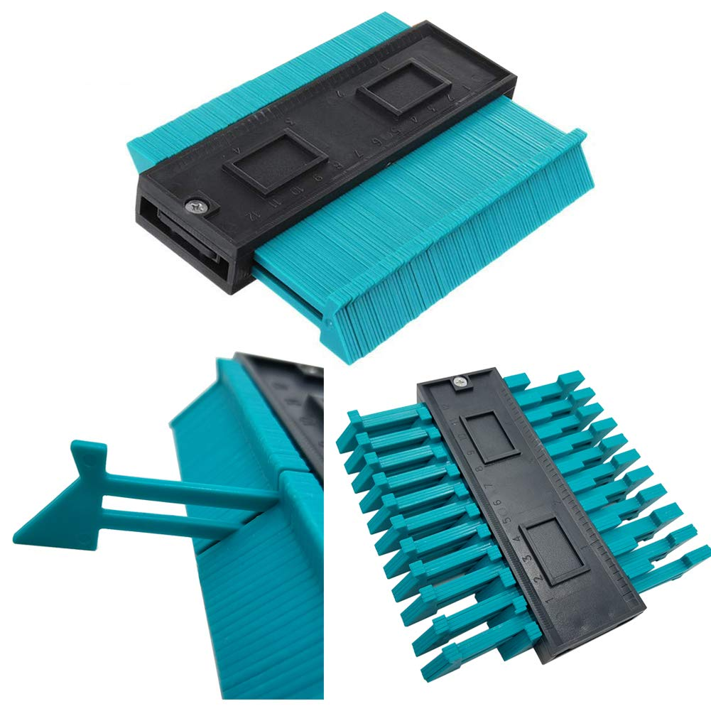 Contour Gauge Duplicator Tool 4 Inch,120mm Plastic Profile Ruled Contour High Accuracy Copy Duplicator Circular Frame Tool Tiling for Winding Pipes Frames Ducts 2 Blue