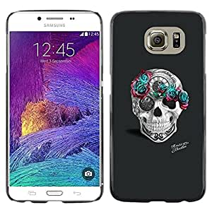 Plastic Shell Protective Case Cover || Samsung Galaxy S6 SM-G920 || Teal Rose Grey Skull Pink Tattoo Art @XPTECH