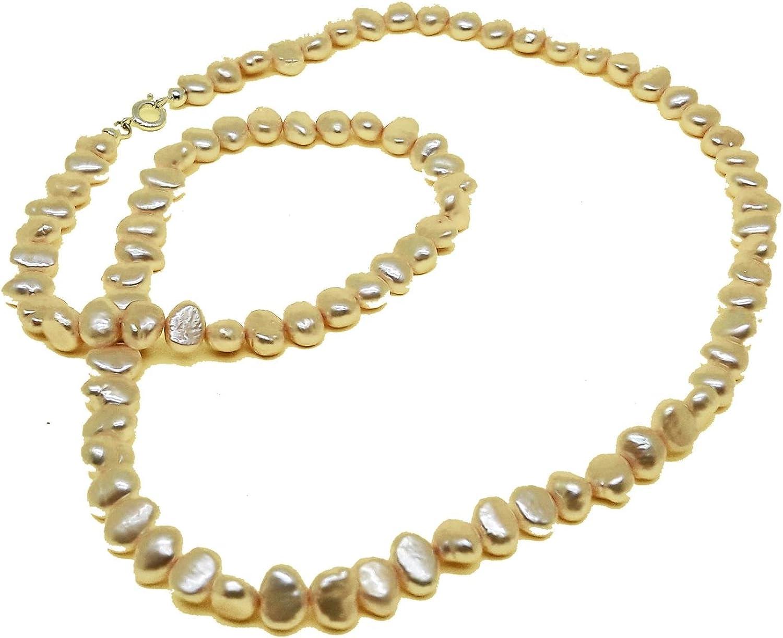 El Coral Collar Perlas Botón Barrocas Amarillo Claro 8/9mm, 64cm Longitud