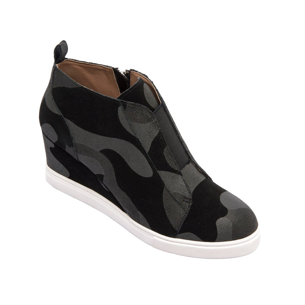 Felicia | Women's Platform Wedge Bootie Sneaker Leather Or Suede B074R9P4D3 7.5 M US|Black/Grey Camouflage Printed Suede