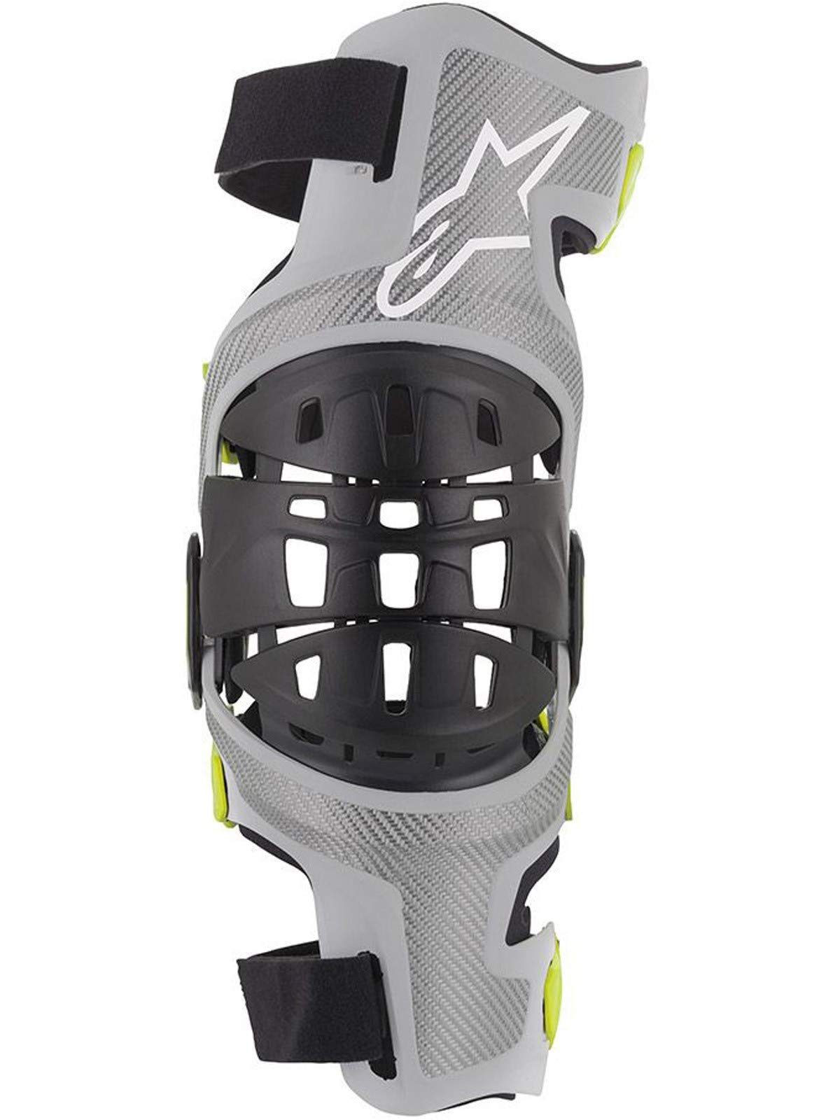 Bionic-7 Off-Road Motocross Knee Brace Set (Medium, Silver Yellow Fluo) by Alpinestars (Image #3)