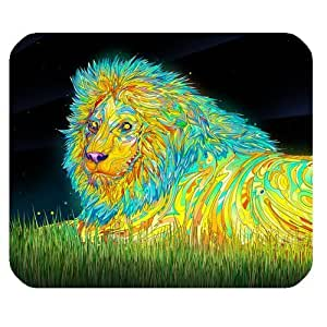 Colorful Stripe Lion Personalized Rectangle Mouse Pad by mcsharks