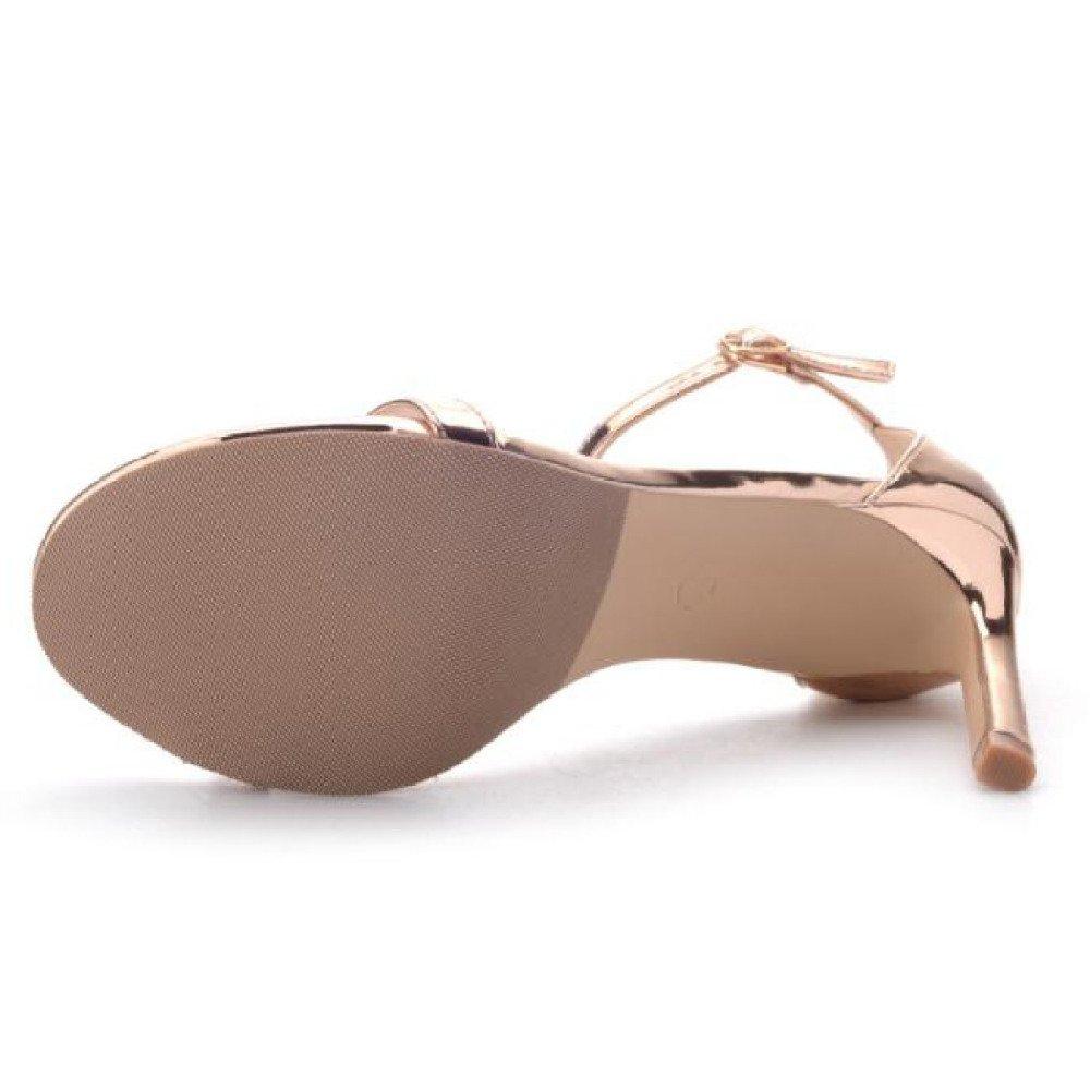 YXLONG Neue Absatzschuhe Für Frühjahr und Sommer Europäische Gold-silberfarbene und Amerikanische Gold-silberfarbene Europäische Sandalen mit Offenen High Heels silver 68c5df