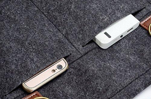 MOSISO Fieltro Bolsa de Hombro para 13-13.3 Pulgadas MacBook Pro, MacBook Air, Notebook Computadora, Maletín Bandolera Bolso Caja, Negro Negro