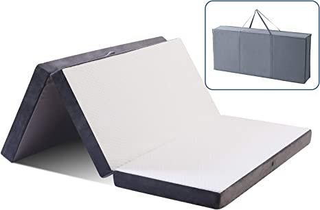 4.0 Inch Memory Foam Tri-Folding Mattress with Super Soft Removable Bamboo Cover for Guest Children and Adults Foldable Orthopedic Mattress with Non-Slip Bottom /& Breathable Mesh Sides for Back Pain Relief Single//Cot 25x75x4.0