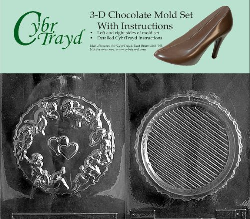 Cybrtrayd V092AB Chocolate Candy Mold, Includes 3D Chocolate Molds Instructions and 2-Mold Kit, Round Pour Box with Cupids