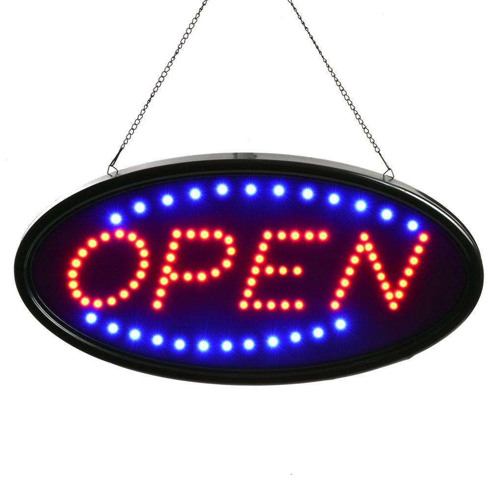 AGPtek LED Open Sign Electric Billboard Bright Advertising Board Flashing Window Display Sign - Two Modes,19x10 inch 19x10 inch