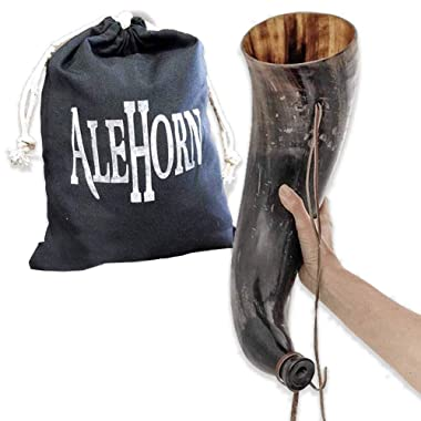 AleHorn Gjallarhorn – XL Authentic Handcrafted Viking Blow Horn War Bugle for Sounding, Winding, Blowing, Signaling with Leather Strap and Drawstring Bag