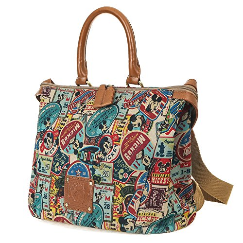 (ililily Disney Mickey Mouse Pattern Patch Vintage Casual Shoulder Bag, Brown)