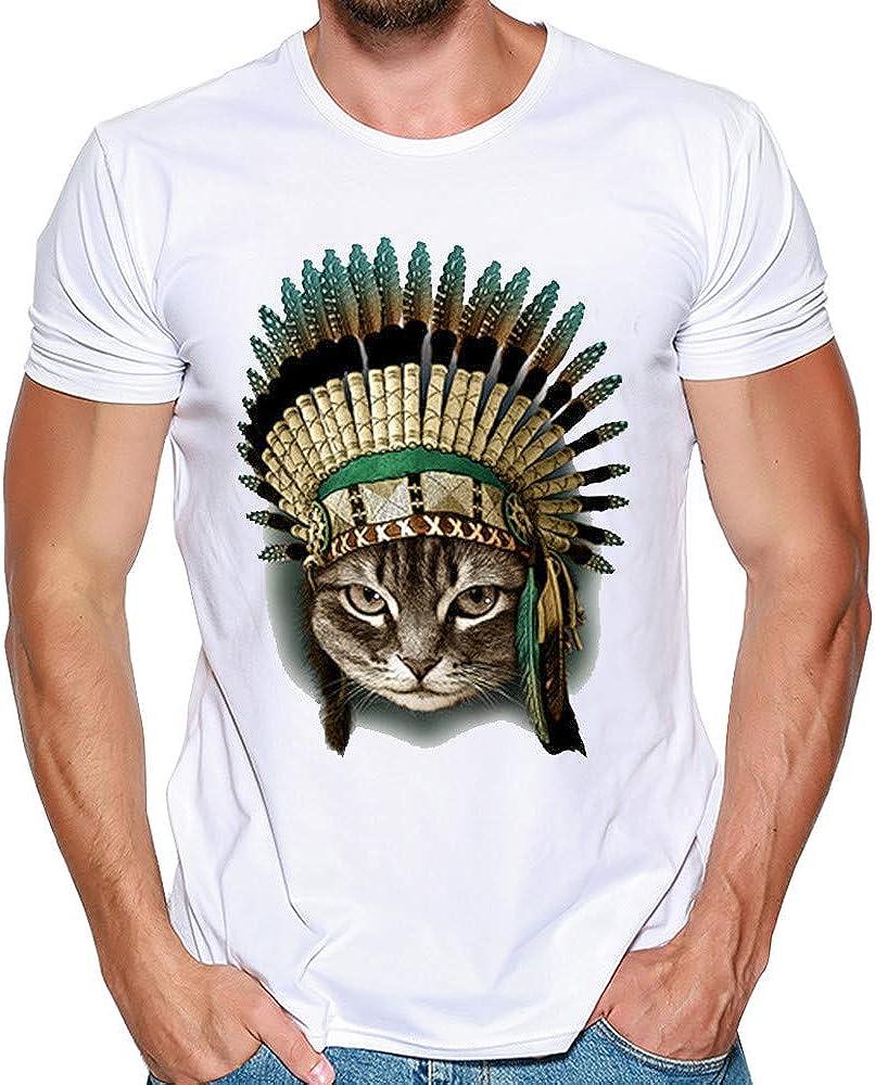 Oliviavan Camiseta para Hombre, Camiseta De Manga Corta Cuello Redondo Algodon Hombre Camisas Camisetas De Hombre De Verano Print tee: Amazon.es: Ropa y accesorios