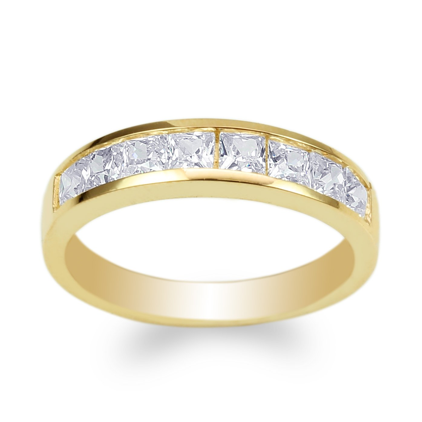 JamesJenny Ladies Yellow Gold Plated Square CZ Channel Band Ring Size 6.5