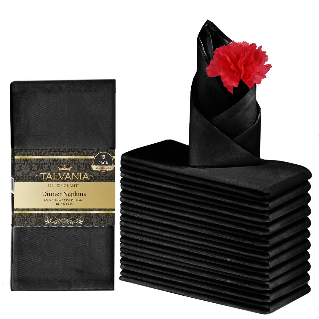 "Talvania Cloth Dinner Napkins - 12 Pack Luxuriously Soft & Hotel Quality Cotton Napkins, Brilliant Fabric Napkins (18"" X 18"") Perfect for Events, Hotel & Home Use (Black)"