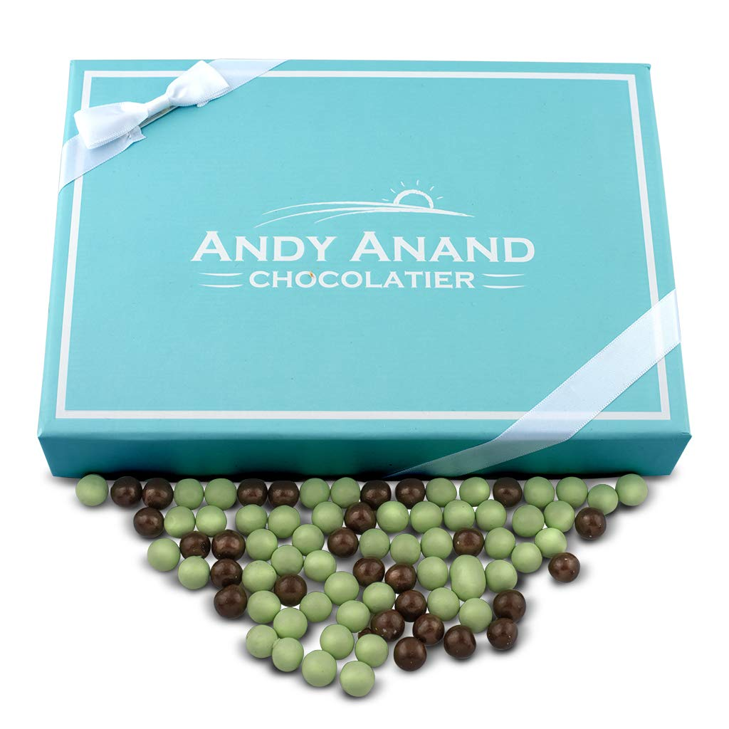 Andy Anand Chocolate Mint Cookies Bites - Dipped in Dark & White Mint Chocolate,1 lb Gift Boxed & Greeting Card, for Birthday, Valentine Day, Christmas Holiday Food Gifts, Mothers day, Corporate Gifts