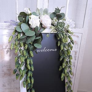 "Supla 2 PCS Artificial Hops Flower Vine Garland Plant Fake Hanging Vine Hops Faux hops Artificial Hanging Plants in Frosted Green Each 29.5"" for Indoor Outdoor Front Porch Flower Decor Floral Greenery 5"