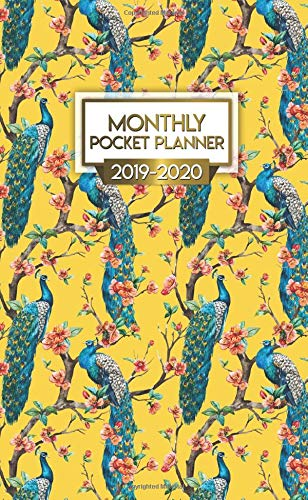 Monthly Pocket Planner 2019-2020: Nifty Exotic Peacock Two-Year Monthly Pocket Planner with Phone Book, Password Log and Notebook. Cute Cherry Blossom Calendar, Organizer and Agenda.