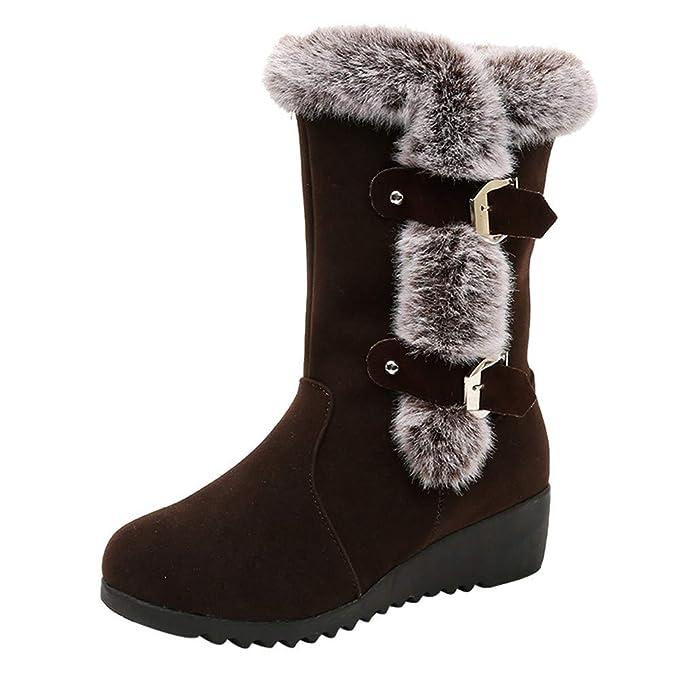 MYMYG Botas de Nieve para Mujer Zapatos Invierno Botas Altas de Rodilla Mujer Bota de tacón Plano Zapatos de otoño Invierno Casual Outdoor Aire Libre Moda ...