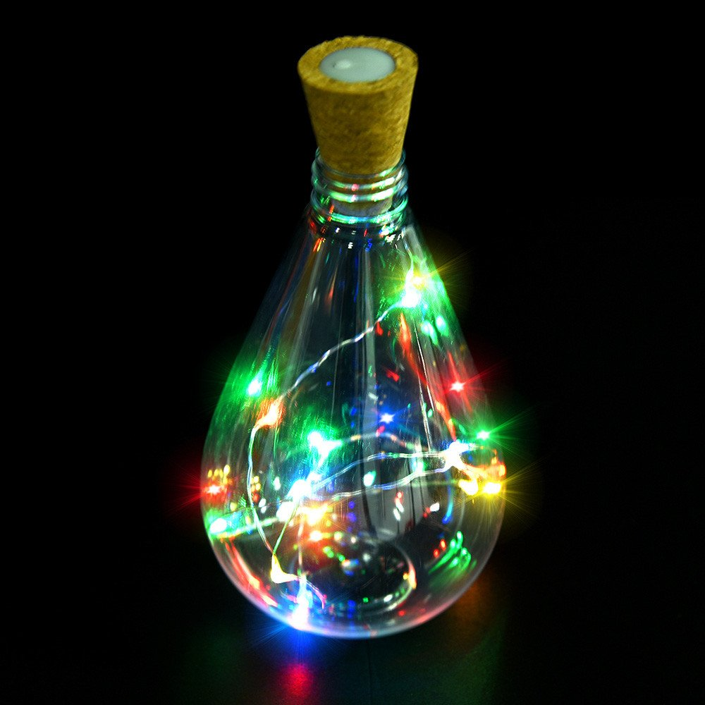 Coohole Cork Shaped 15 LED Night Light Starry Lights Wine Bottle Lamp For Christmas Xmas Party Colorful Lights (A)