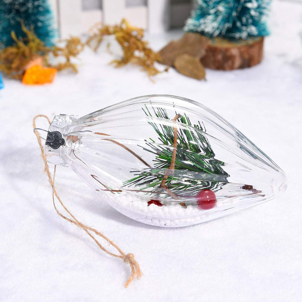 Clear Christmas Balls Ornament, Plastic Shatterproof Christmas Tree Pendant Decorative Xmas Balls Baubles Set with Stuffed Delicate Decoration (B)