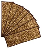 "Ottomanson Escalier Affordable Skid-Resistant Rubber Backing (Non-Slip) Carpet Stair Treads(Set of 7), 8.5"" x 26.5"", Dark Brown"