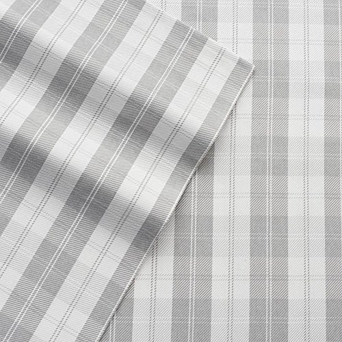 Nursery Bed Ensemble (Cuddl Duds Twin Flannel Sheet with Deep Pockets, 4-Pieces - Gray Plaid V2)
