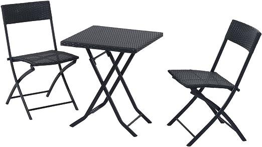 Outsunny Mobilier de Jardin en rotin synthétique avec Bistro Set, Balcon  Meubles Siège Groupe, 3 pièces, Noir