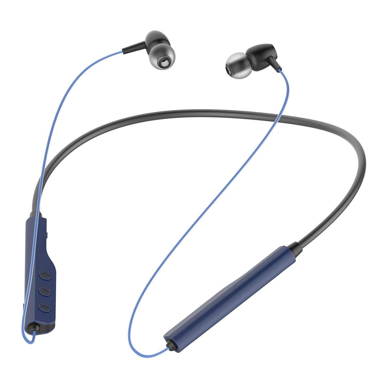 CLOUD FOX H1 Bluetooth Headphones, Neckband Bluetooth Headphones Lightweight Earbuds in-Ear Earphones with Mic, Sweatproof & 8 Hours Playtime Blue