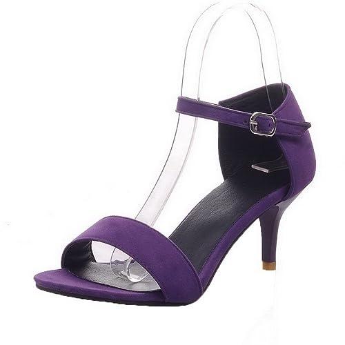 793286a5ef1 AalarDom Mujer Puntera Abierta Sólido Hebilla Sandalias de vestir   Amazon.es  Zapatos y complementos