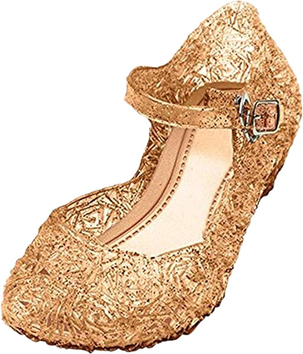GenialES/® Scarpe Sandali di Vestito Principessa Ragazze Carnaval Fiesta Cosplay Halloween Plastica Altezza Tacco doro CN29//EU27//170