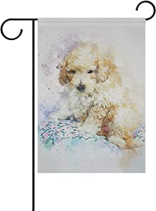 DKISEE Garden Flag Animal Poodle Dog Painting Home Garden Yard Flag - Double Sided Decorative Outdoor Flag 28x40 inches