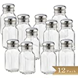 Set of 12 - TrueCraftware 2 Ounce Glass Salt and Pepper Shakers with Stainless Steel Mushroom Tops