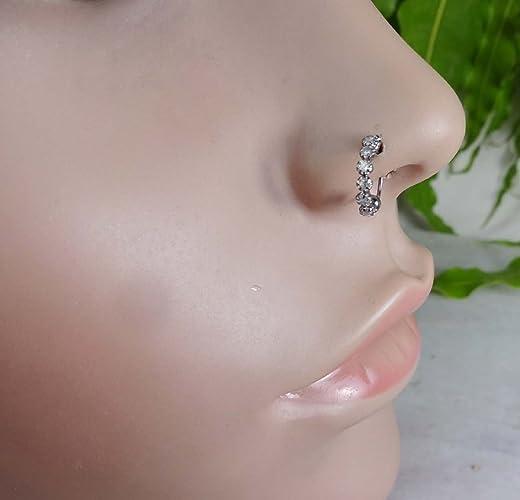 Amazoncom Black Stone Nose RingDiamond Nose StudMonroe Piercing
